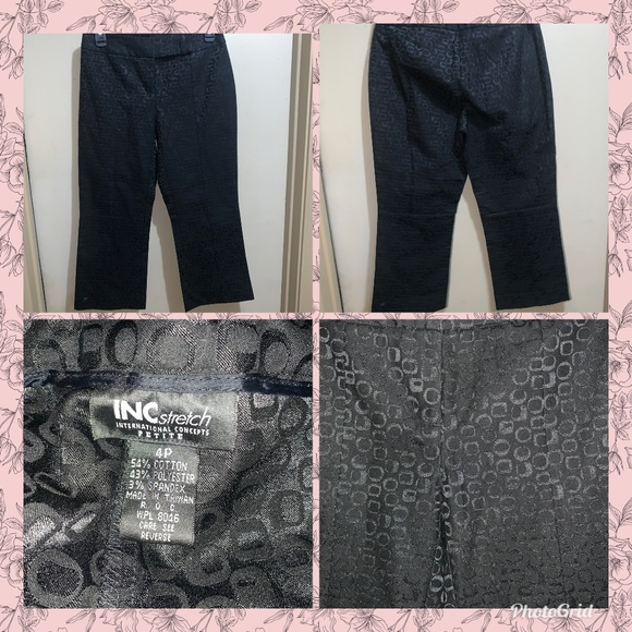INC International Concepts Pants - INC STRETCH International Concept Black Crop SZ 4P